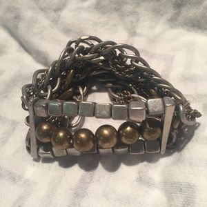 Jewelry - Bracelet Beaded Chain Braided Two Tone Square Ball